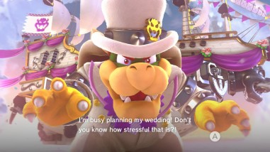 """Bowser in a white suit with purple trim, and white hat as his wedding outfit. The text says """"I'm busy planning my wedding! Don't you know how stressful that is?!"""""""