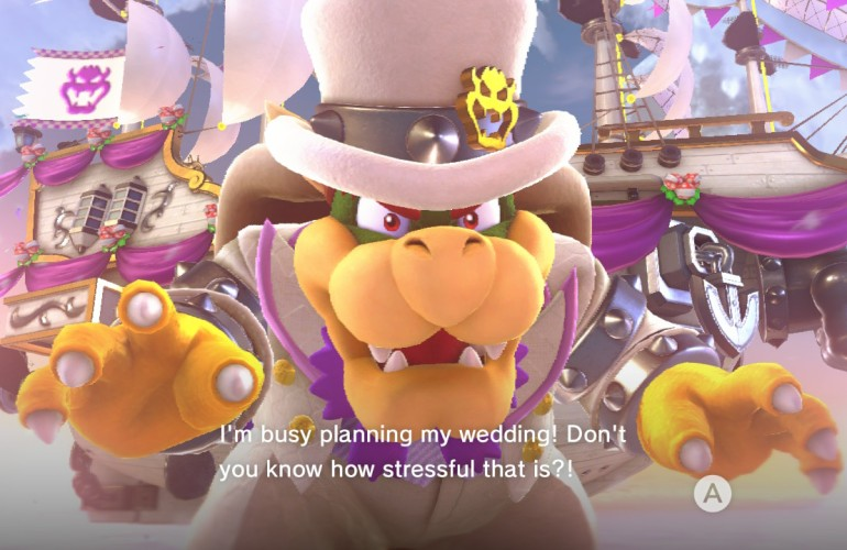 "Bowser in a white suit with purple trim, and white hat as his wedding outfit. The text says ""I'm busy planning my wedding! Don't you know how stressful that is?!"""