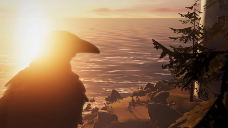 A raven is silhouetted in the foreground with a view over the coast and two characters on a bench.