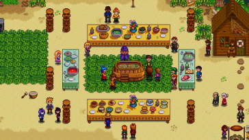 Stardew Valley town celebration with all townspeople.