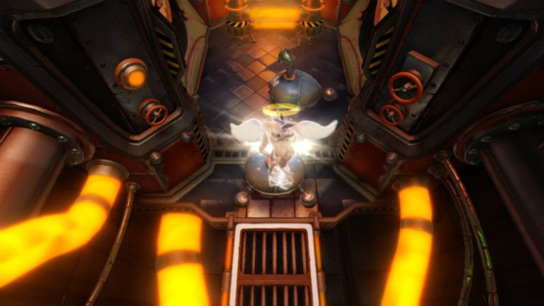 Crash Bandicoot transforms into an angel and floats upwards.