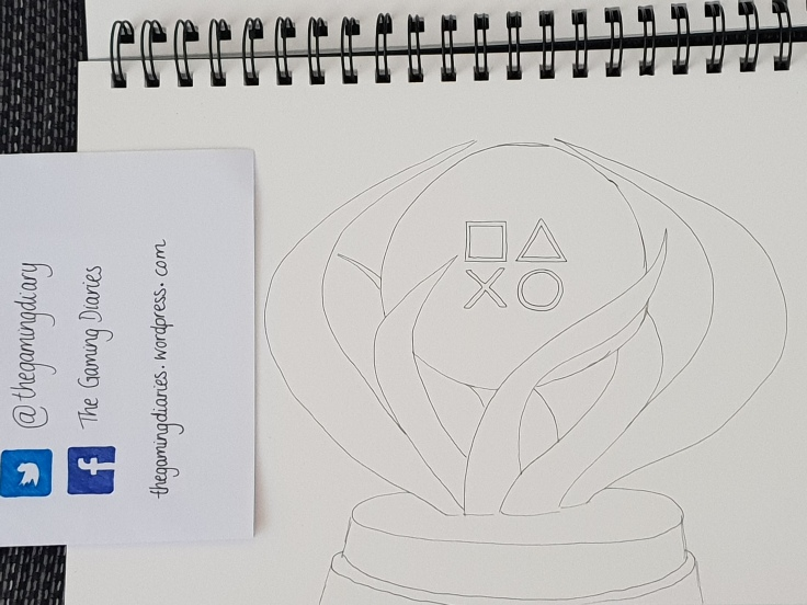 A line drawing of a PlayStation platinum trophy drawn by myself for Inktober.