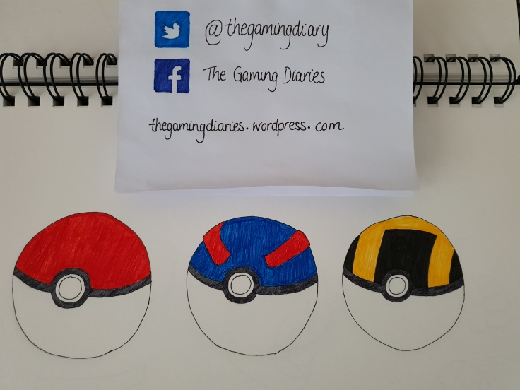 A line of balls from the Pokémon games