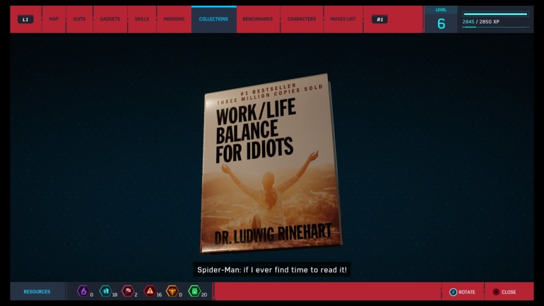 Work/life balance for dummies, a collectible from Spider-Man (PS4)