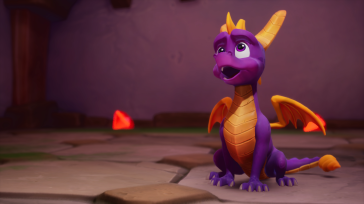 Spyro with a gem in the background