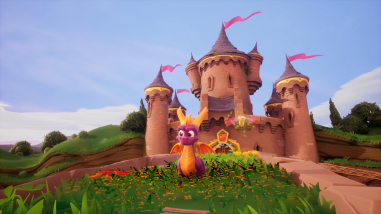 Spyro with a castle behind him