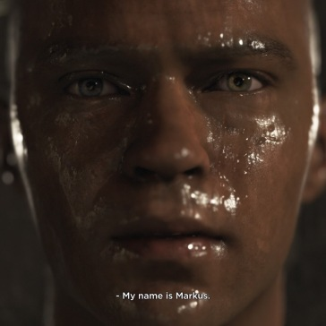 My name is Markus in subtitles, on the screen is a close up of Markus' face which is wet.