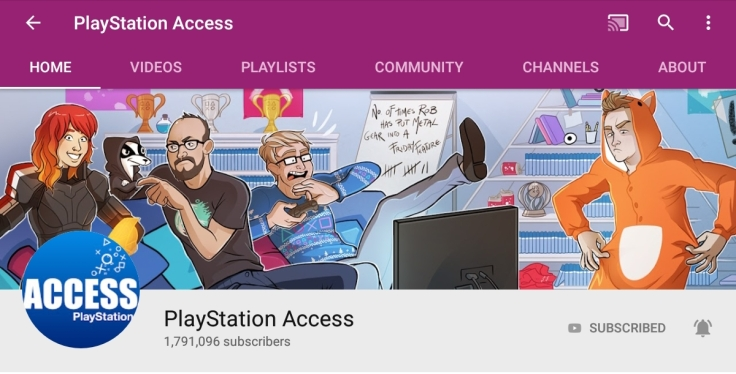 The PlayStation Access header and summary of subscribers on YouTube as of June 2019.