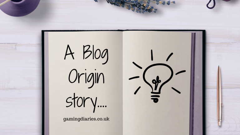 """A notepad is open with """"A blog origin story... gamingdiaries.co.uk"""" written on the left page and the image of a cartoon style lightbulb with lines around it on the right page. Some purple items are just showing at the top edge and a pen is to the right of the notebook."""