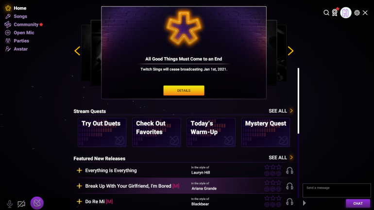 The Twitch Sings Home screen with the goodbye message showing it ceasing to broadcast on Jan 1st 2021.  It has stream quests, featured new releases and the general menu for songs, community, open mic, parties and avatar options.