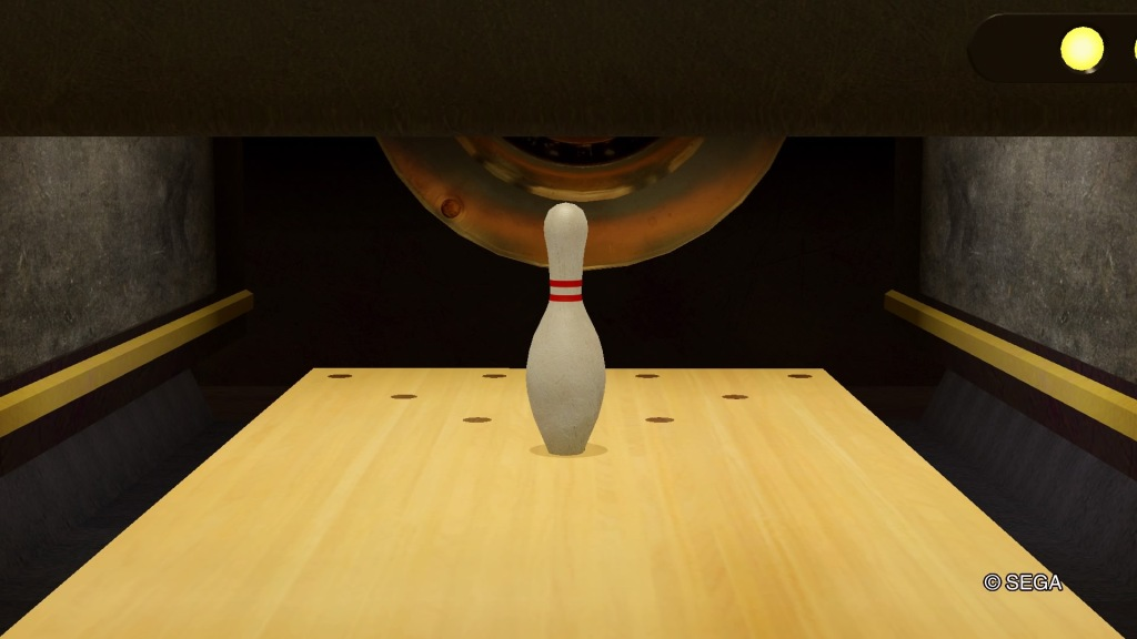 A single bowling pin remains in the front centre position